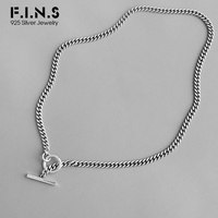 F.I.N.S S925 Sterling Silver Necklace Retro Vintage Circle and Stick Pendant Antique Silver Chain Choker Necklace Ornaments