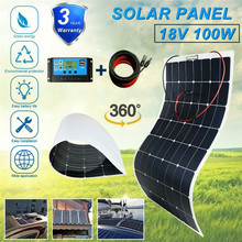 100W 12V Solar Panel Kit Extension Line with Controller Crocodile Clamp Mounting Bracket DC Cable High Efficiency