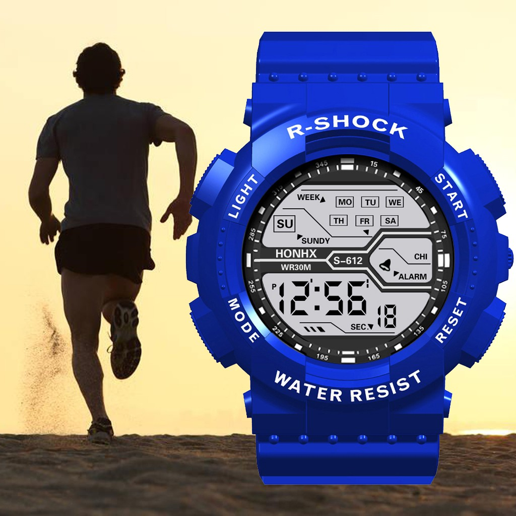 blue digital watch women Waterproof Boy LCD Digital Stopwatch Date Rubber Sport Wrist Watch