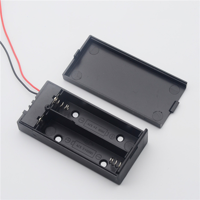 Storage-Case Container Batteries-Holder Plastic On/off-Switch Black 1PC for 2x18650 Box title=