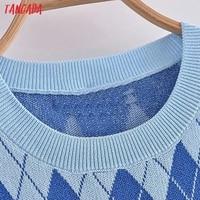 Tangada Fashion Women Plaid Pattern Elegant Sweater Dress Sleeveless O Neck Ladies Mini Dress 3H290 3