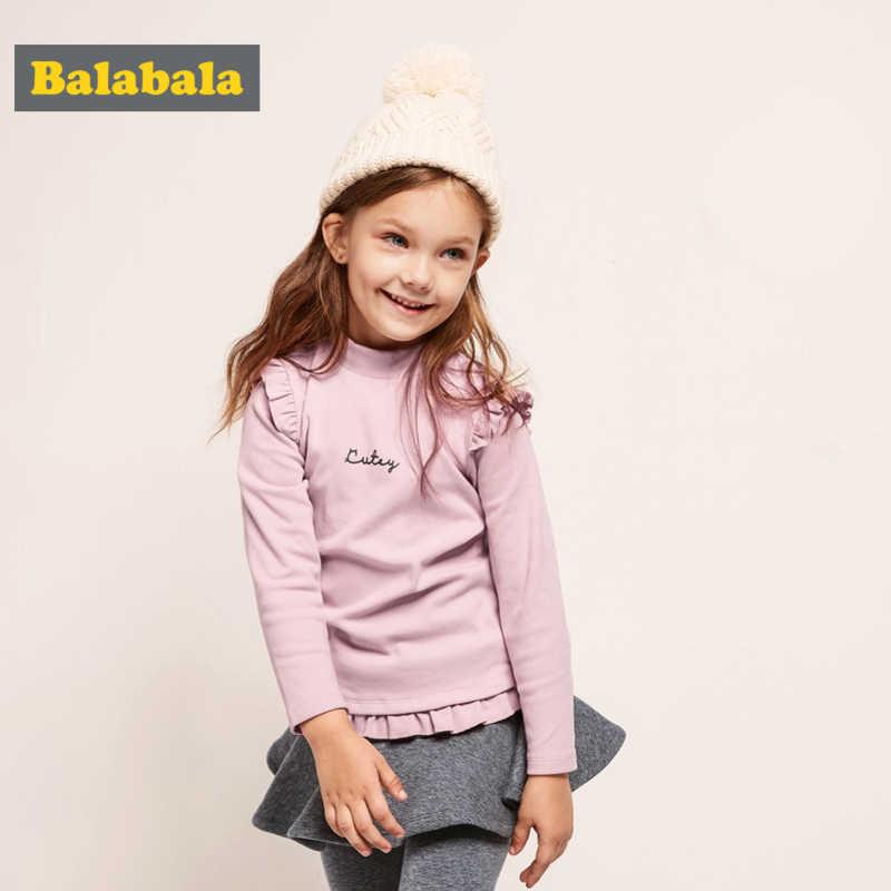 Balabala طفل فتاة قميص طويل الأكمام مع كشكش التفاصيل الاطفال القطن كشكش-Trimed وهمية-الياقة المدورة قميص مع كم طويل