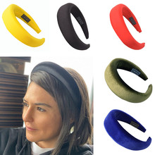 2019 Female Bezel Head band Silk Padded Headband for Women Solid 4cm Wide Thick Hair Hoop Hairband Velvet Vintage Headbands
