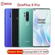 Global rom oneplus 8 pro 5g smartphone snapdragon 865 6.87 8 8g 128g 120hz display fluido 48mp quad 513ppi 30w carregamento sem fio
