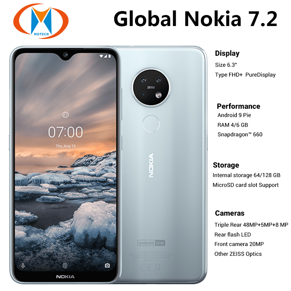 Brand New Global Nokia 7.2 TA-1196 6GB 128GB Dual SIM Mobile Phone 6.3