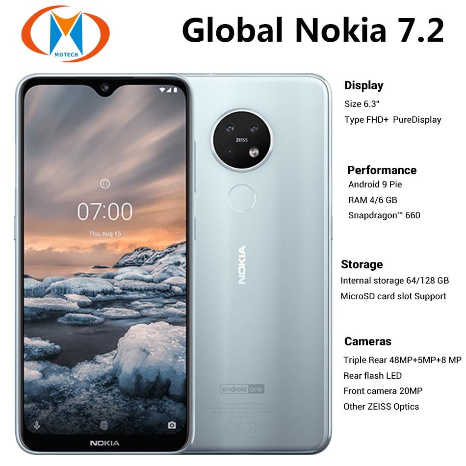"Brand New Global Nokia 7.2 TA-1196 6GB 128GB Dual SIM Mobile Phone 6.3"" 48MP Triple Camera Front 20MP NFC 4G LTE SmartPhone"