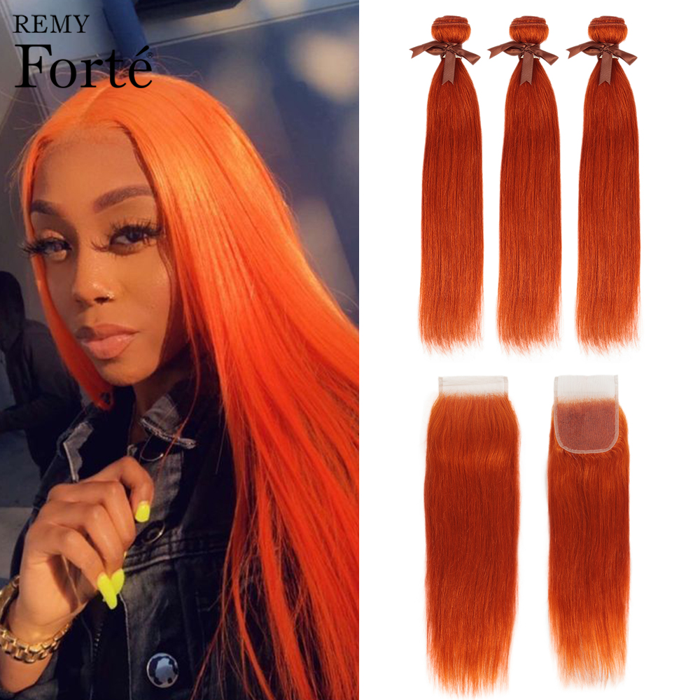 Remy Forte Straight Hair Bundles With Closure Orange Bundles With Closure Brazilian Hair Weave Bundles 3/4 Bundles With Closure