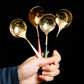 Round Soup Spoon 304 Stainless Steel Dinner Spoon With Handle Dessert Spoon For Kitchen Tableware Coffee Spoon
