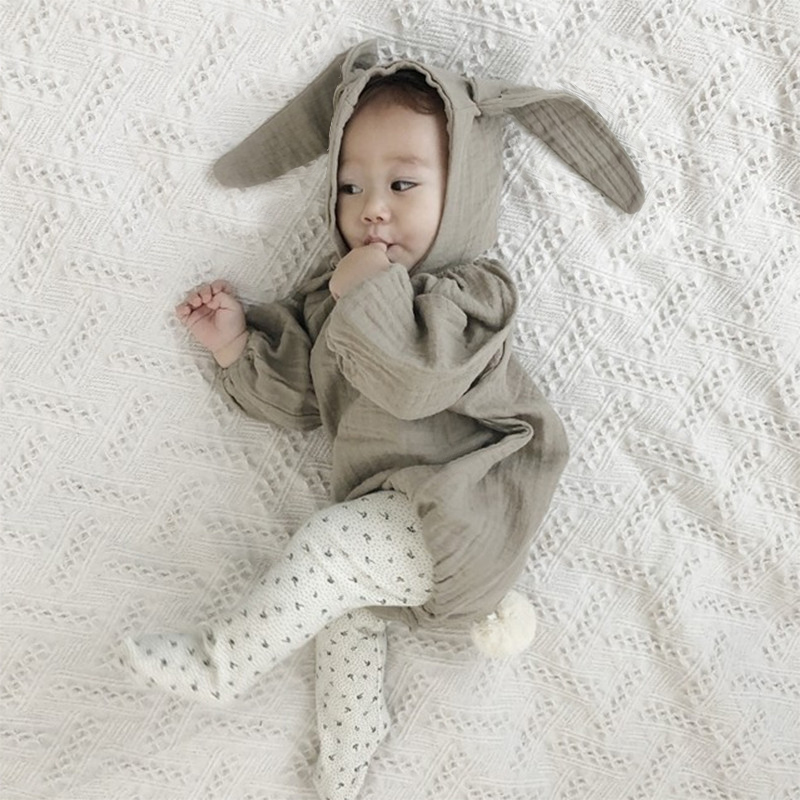 Baby Girl Rompers 0-24M Toddler Baby Girl Solid Jumpsuit Long Sleeve Rabbit Newborn Outfits Clothes Christmas Baby Costume