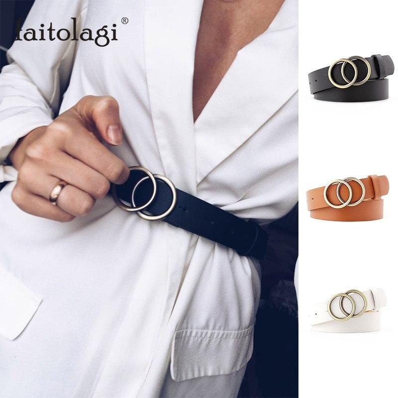 Moda cinto de couro para calças de brim duplo anel pérola fivela senhoras cinto para vestidos preto branco feminino cinto selvagem cós