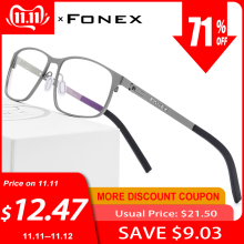 FONEX Prescription Eyeglasses Optical-Glasses-Frame Screwless-Eyewear Square Myopia Full-Korea