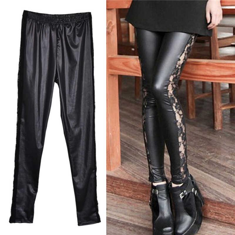 Хит, тонкие кружевные леггинсы, высокая эластичность, сексуальные штаны, леггинсы, кожаные сапоги, леггинсы, искусственная кожа, женские леггинсы