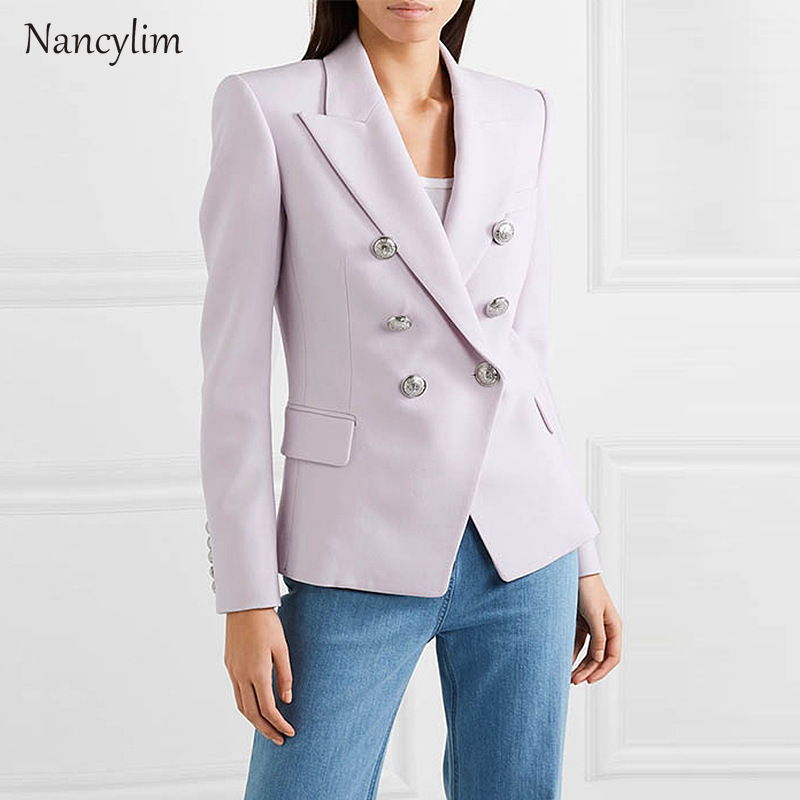 Blazer Feminino 2019 European and American-Style Female Suit Jacket High-End Fabric Classic Double-breasted Slim Suit Jacket 3XL