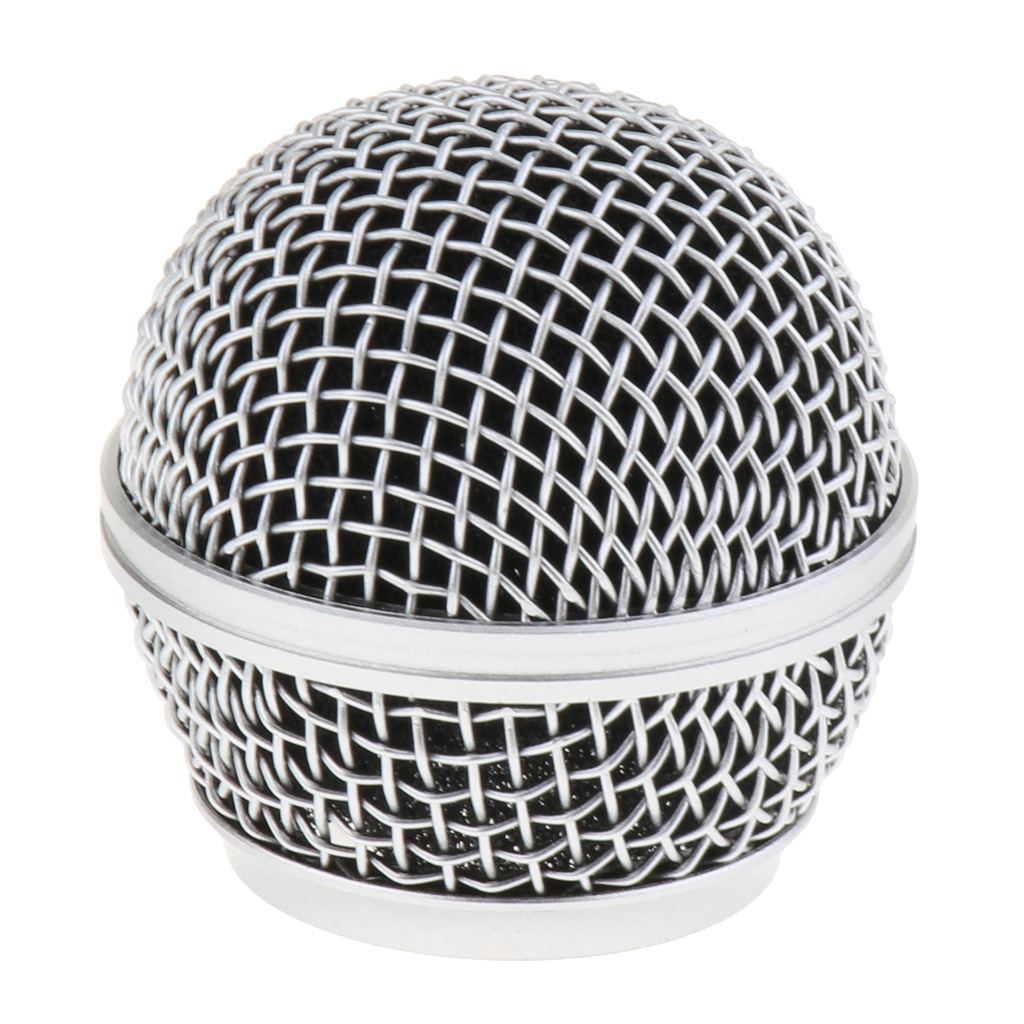 Practical Steel Wireless Wired Microphone Replacement Grille Mesh Ball Head Silver