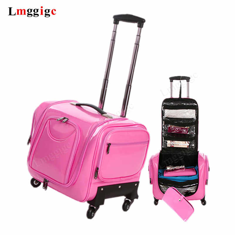 Trolley cosmetic case,Professional nail art tattoo toolbox,Universal wheel luggage,Multi-layer large capacity beauty suitcase