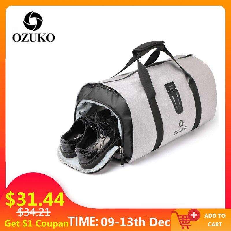 OZUKO Multifonction Hommes Costume Sac De Voyage Sac À Dos Grande Capacité Sac De Rangement Voyage Bagages Sacs avec Poche à Chaussures
