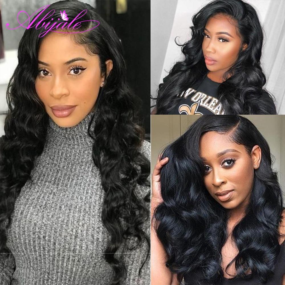 Abijale 13x 4/13x6 парики из человеческих волос с фронтальной шнуровкой предварительно выщипывающийся Remy парик с фронтальной шнуровкой для черных ...