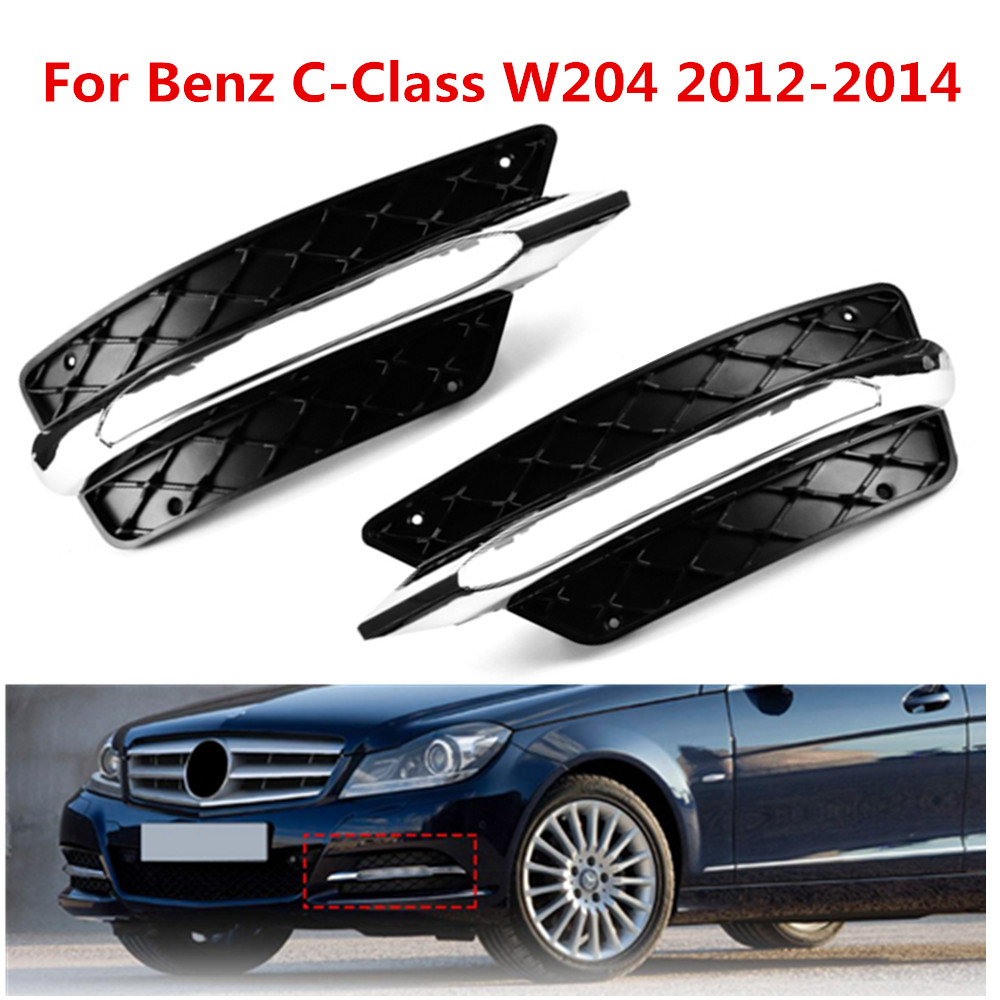 Pair L/R Front Bumper DRL <font><b>Grill</b></font> Daytime Running Light Lamp Cover For <font><b>Benz</b></font> C-Class <font><b>W204</b></font> 2012 2013 2014 image