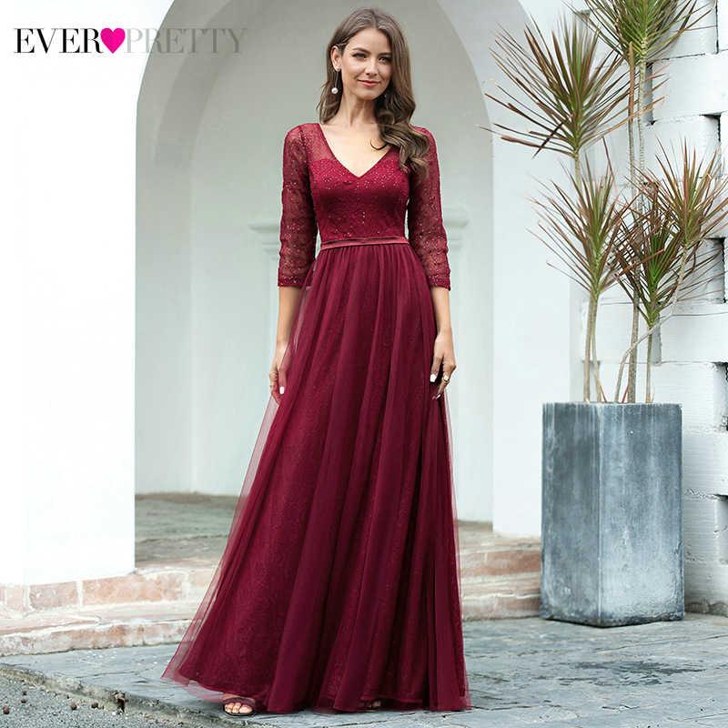 Элегантные платья для выпускного вечера Ever Pretty EP00806 А-силуэта с двойным v-образным вырезом и рукавом 3/4, расшитые блестками блестящие кружевные вечерние платья Vestidos De Gala 2020