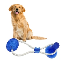 Pet Dog Rubber Chew Toy Durable Teeth Cleaning Training Molar for Small Medium Puppy Playing Interactive with Sucker