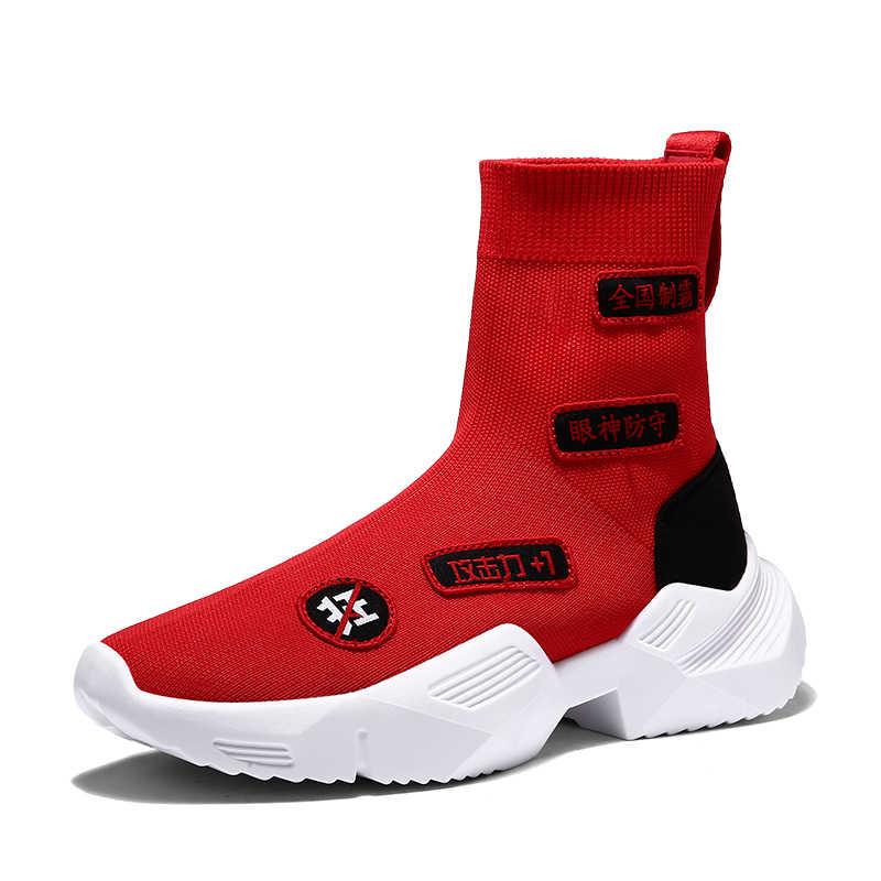 Homens 2020 de alta qualidade meias sapatos causal sapatos homem respirável malha botas sapatos moda voar tecer tênis masculino calçados