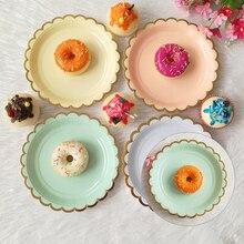Посуда бумажные тарелки конфетного Цвета Одноразовая посуда для вечеринки одноразовая бумажная посуда для ужина торты свадебные принадлежности