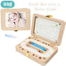 AAG Wooden Baby Tooth Box Organizer Deciduous Milk Teeth Storage Lanugo Umbilical Save Collect Baby Souvenirs Photo Frame Gifts