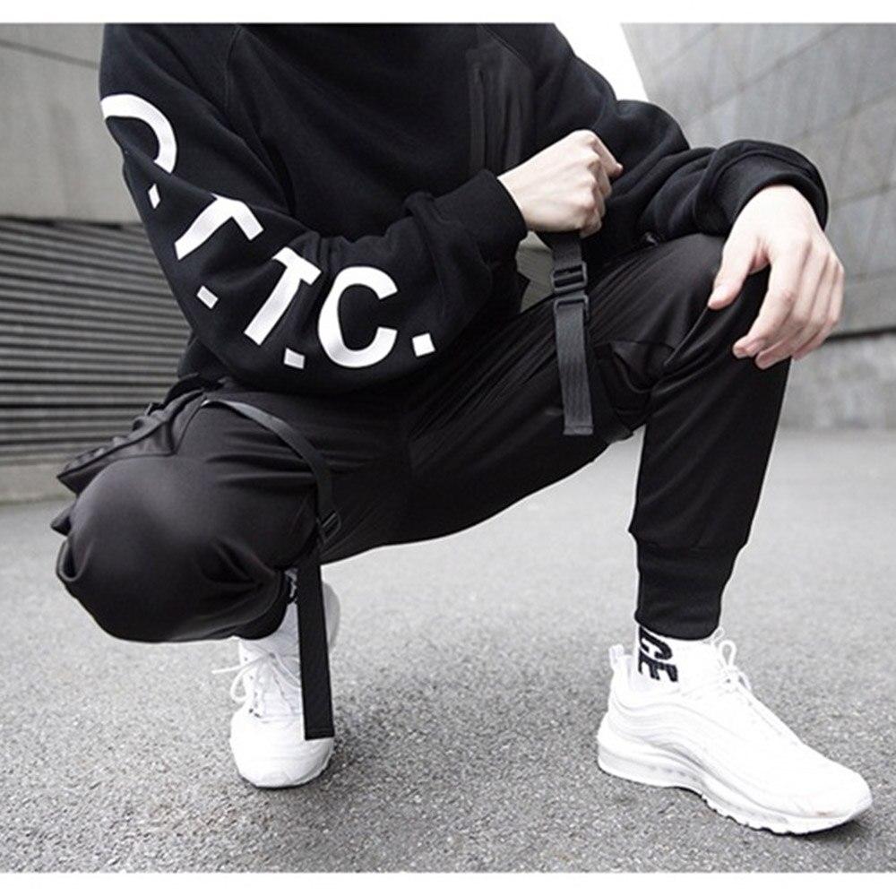 Мужские цветные черные брюки карго с лентами и карманами, шаровары для бега Harajuku, спортивные брюки в стиле хип-хоп, черные брюки для уличных танцев