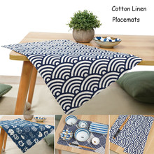 Japanese Style Placemats for Table Set of 4 Double Layer Cotton Linen Place Mat Set inKitchen Insulation Dinner Mat Anti-hot