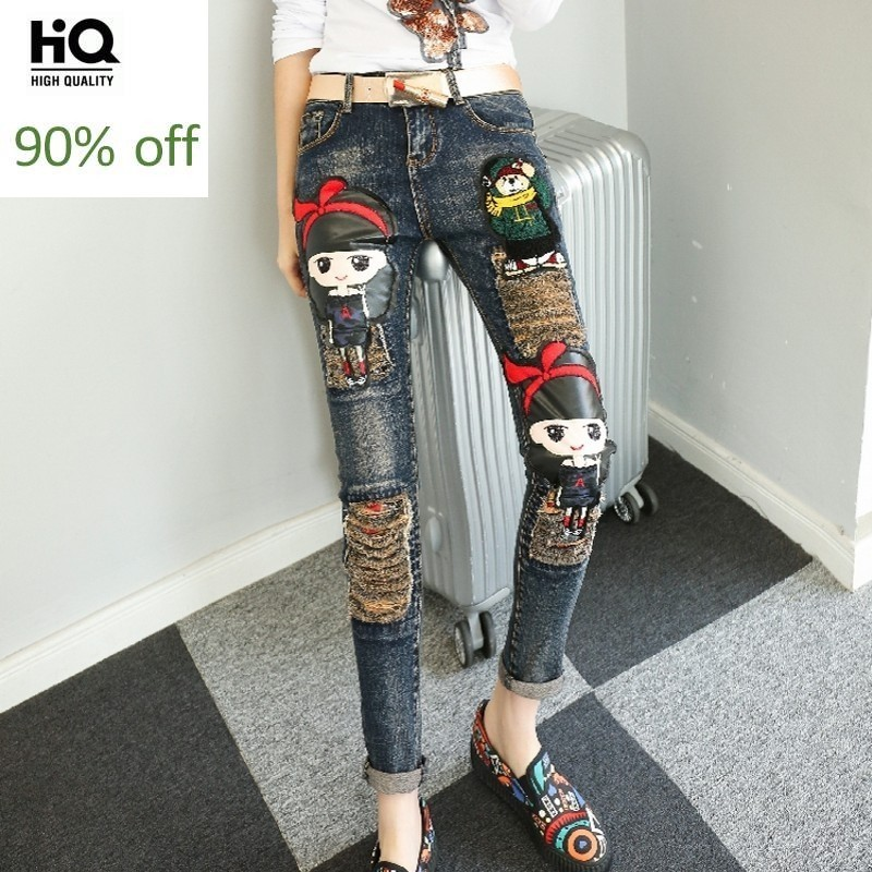 Cute Girl Harajuku Fashion Cartoon Appliques Bounce Jeans Pencil Pants Ripped Casual Full Trousers For Women Regular Retro Pants