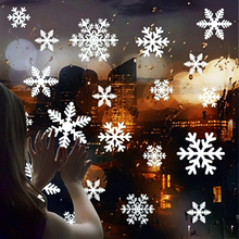 27pcs/page White snowflake Wall stickers Christmas facade Window applique Frozen snow sticker Xmas tags decoration home Natal