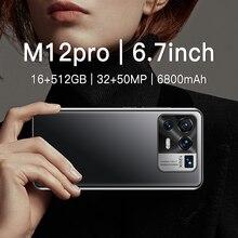 M12 Pro 6,7 Zoll Smartphone 4G 5G Entsperren 32MP + 50MP 16GB + 512GB 6800mAh handys Telefon Smartphone Globale Version