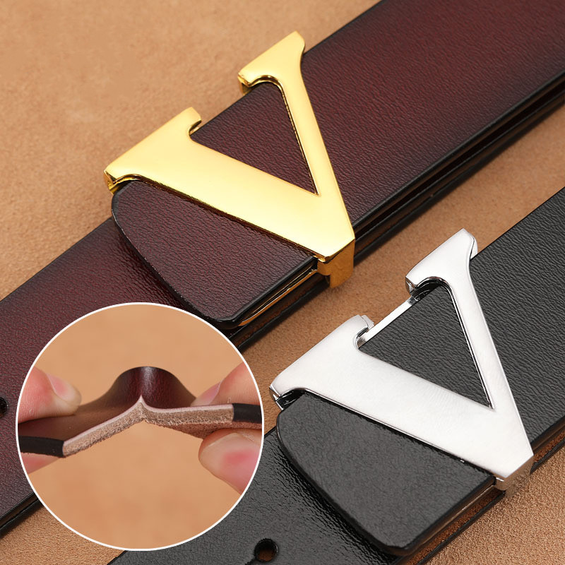 Designer Belt For Men Women Fashion Letter Smooth Buckle Cowskin Belt Luxury Gold/Sliver/Black V Buckle Belt Strap For Unisex