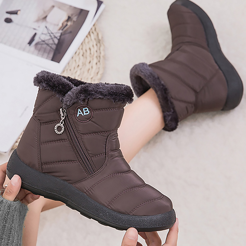 Zipper Winter boots women Waterproof Plush Snow boots for female Non slip Sturdy Sole Mid calf boot ladies Soft Warm shoes woman