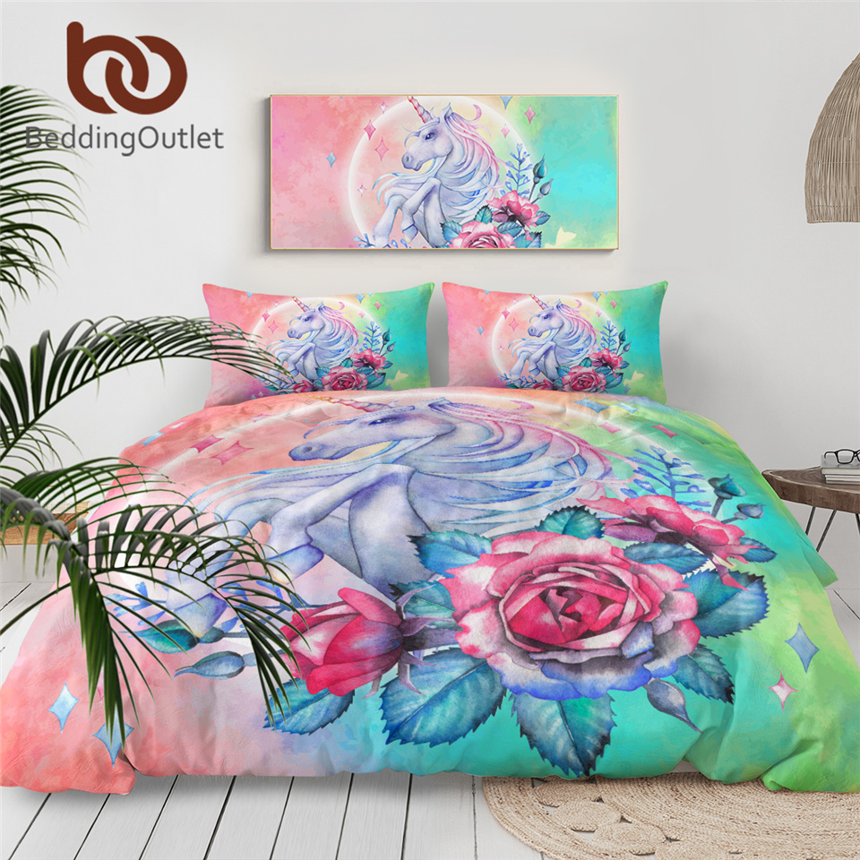 BeddingOutlet Unicorn Bedding Set Cartoon For Kids Rose Duvet Cover Girly Twin Bed Set Pink Blue Bed Cover Floral Home Textiles