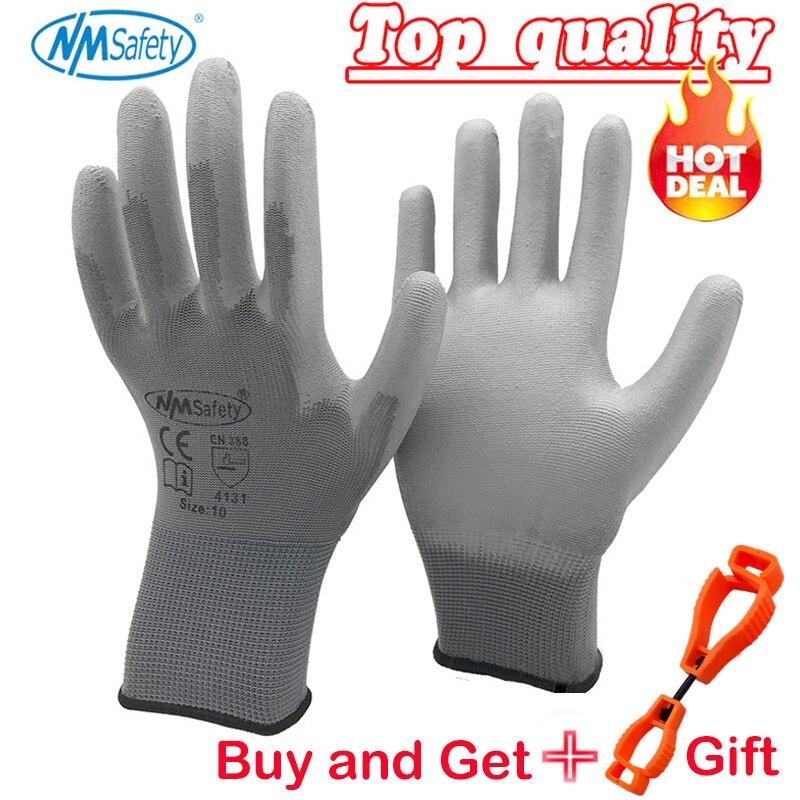 NMSafety 12 זוגות כפפות עבודת PU פאלם ציפוי בטיחות כפפהwork glovesgloves for workgloves work -