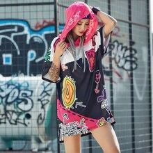 Hip Hop Hoodie Oversize Women Sweatshirt Dress Stylish Graffiti Print Hooded Tops Pink Black Block Irregular Hem 2020 Summer slogan print dip hem hoodie