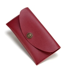 New Wallet Leather Women Wallet Fashion Fastener Hasp Long Pu Leather Purse Metal Decor Wallets Female Hasp Coin Purse Clutch new fashion women wallets pu leather zipper wallet women s long purse two fold clutch card bag casual hasp dollar price wallet