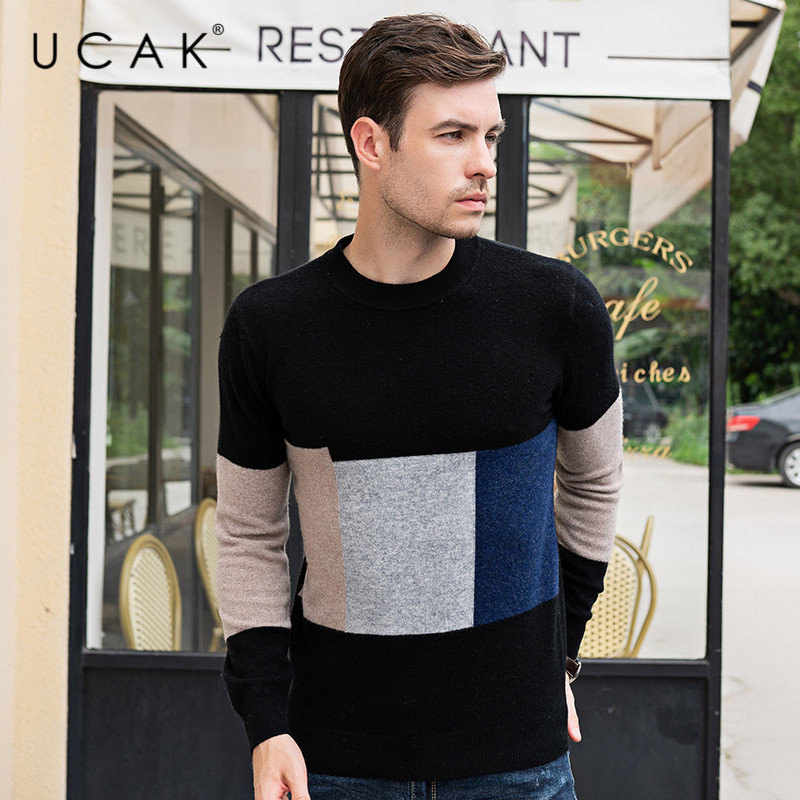 UCAK Brand Sweaters Men 2019 Autumn Winter Thick Warm Pull Homme Pure Merino Wool Cashmere Contrast Color Pullover Male U3092