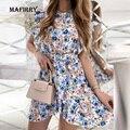 Women Floral Print Sashes High Waist Dress Summer Round Neck Button Ruffles Mini Dress Lady Colorful Sleeveless Holiday Dress
