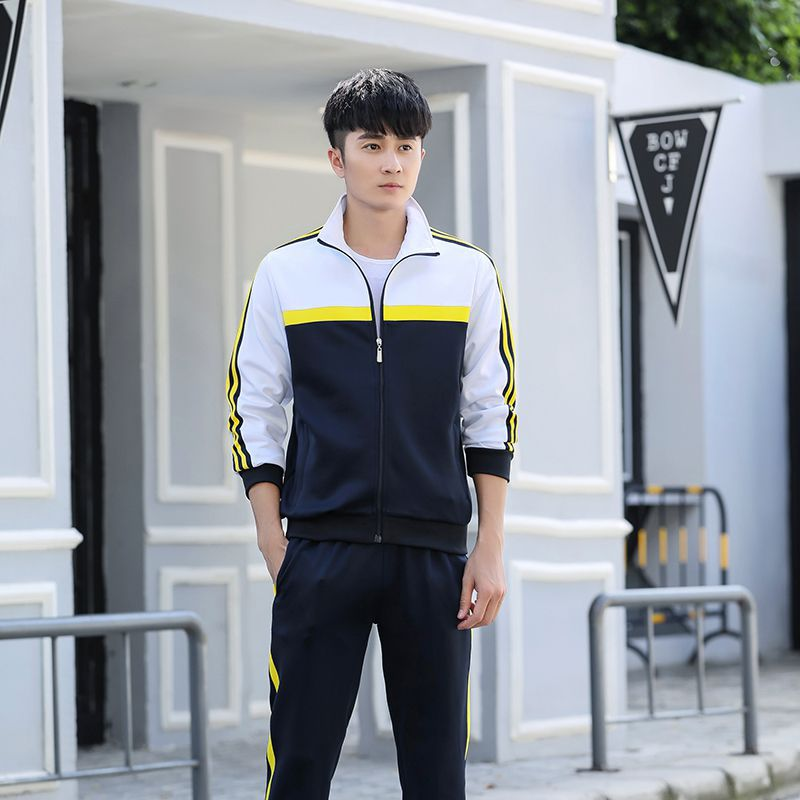 Spring And Autumn New Style Men'S Wear Sports Set Couples Students Running Large Size South Korean Silk School Uniform Fashion
