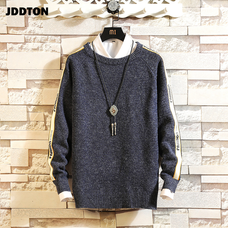 JDDTON Men's Knitted Sweater Casual Round Neck Clothing Thermal Sweaters Japense Style Loose Streetwear Pullover Male Coat JE268