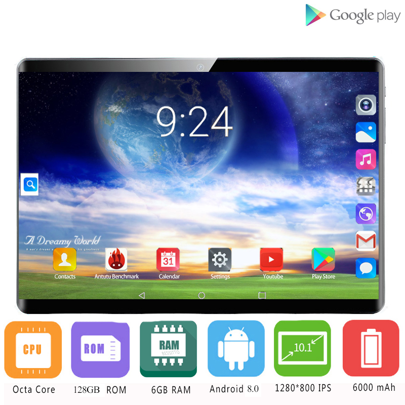 2020 2.5D Screen Newest 10 Inch Android 8.0 Tablet PC 3G WIFI 4G LTE 10 Core 6GB RAM 128GB ROM GPS Tablet PC IPS 1920x1280