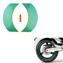 16 pieces Universal Waterproof Motorcycle Wheel Rim Reflective Stickers Self-adhesive Motor Bicycle Decals for 17 18inch Wheels