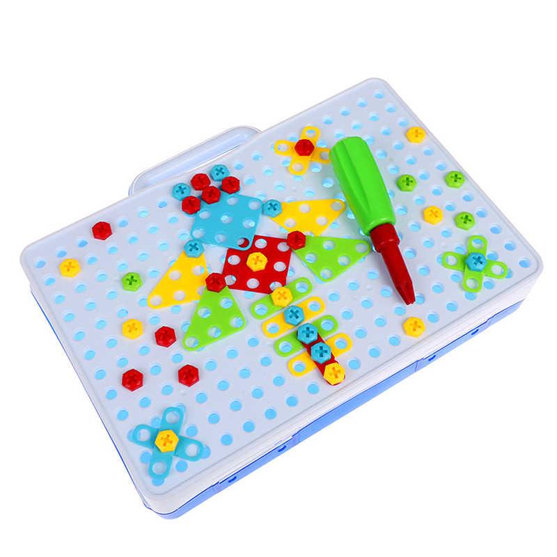 Bambini Giocattoli Vite Gruppo di Giocattoli Giocattoli Educativi Trapano Di Puzzle FAI DA TE KidsTool Kit di Plastica Ragazzo di Puzzle Mosaico Disegno di Costruzione Del Giocattolo