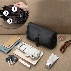 Image 4 - Bolsa de couro legítimo pendurado, bolsa feminina modelo carteiro com aba