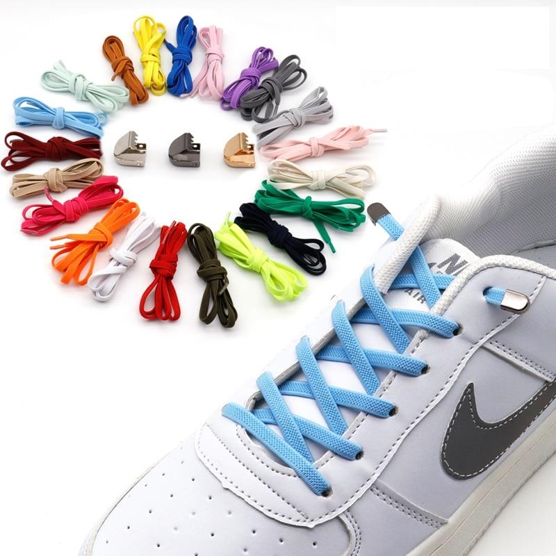 1 Pair No Tie Shoelaces Fast Convenient Metal Lock Elastic Shoelace Flat Outdoor Leisure Sneakers Safety Lazy Laces Unisex