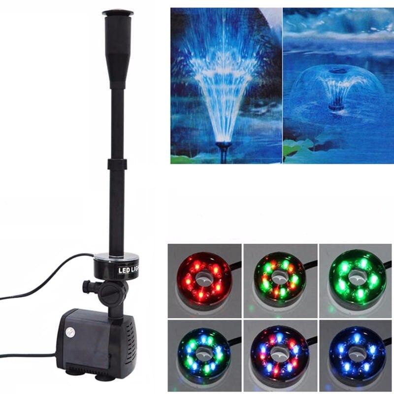 220V Aquarium poissons étang LED pompe à eau Submersible jardin fontaine pompe avec lumière LED changeant fontaine fabricant 40W 2000L/H