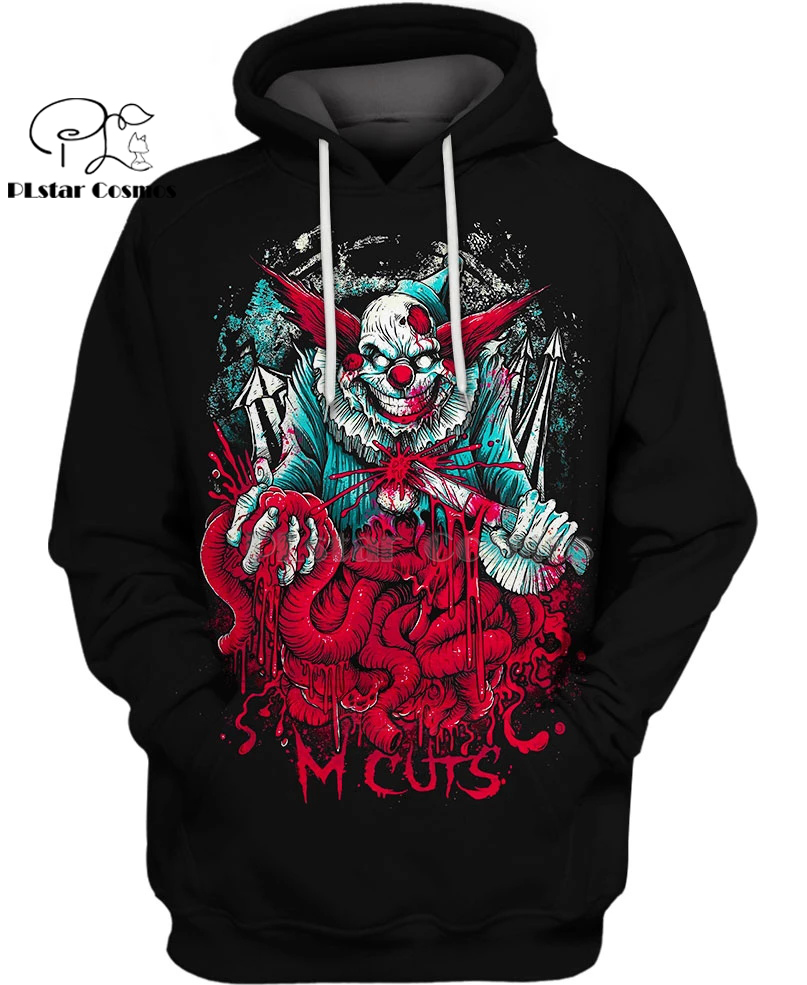 PLstar Cosmos new movies IT 2 Psychotic Clown 3d hoodies/Sweatshirt Winter autumn funny long selvee Harajuku streetwear