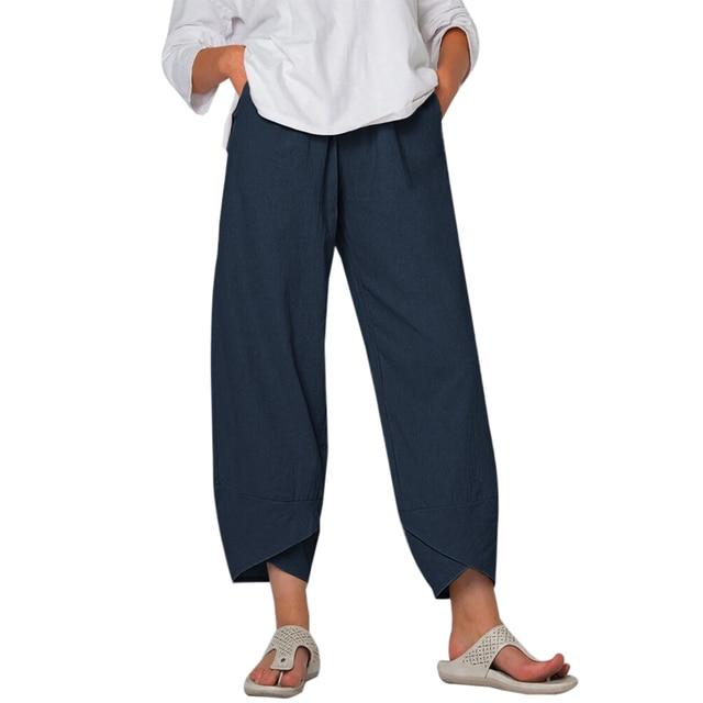 Dihope Printed Harem Pants Women Trousers Casual Elastic Waist Cotton Linen Wide Leg Pants Loose Pantalon Summer Plus Size Pant